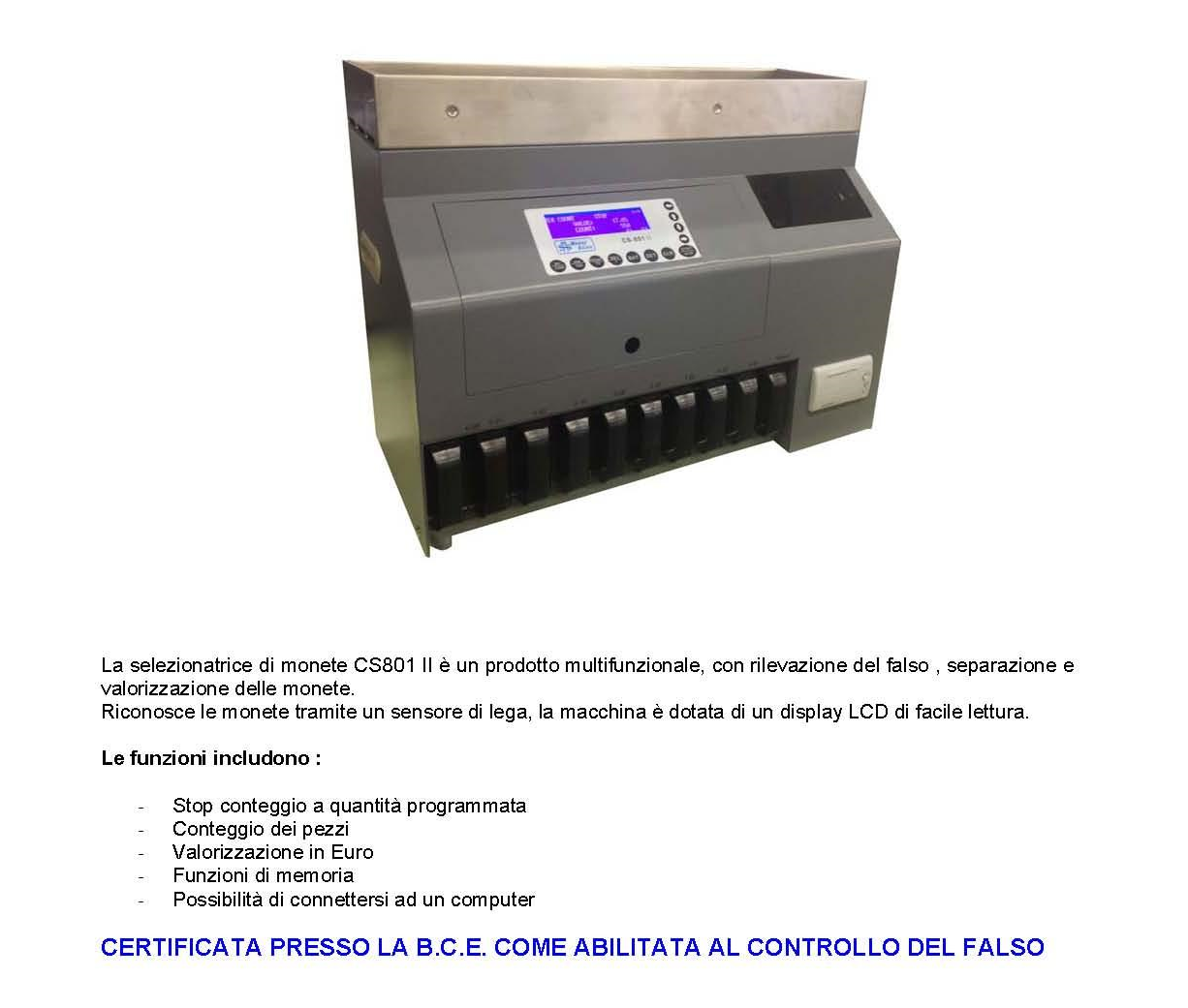 Dep. selezionatrice di monete CS801II_p1